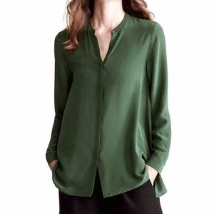 NWT! Eileen Fisher Silk Crepe Mandarin Collar Top